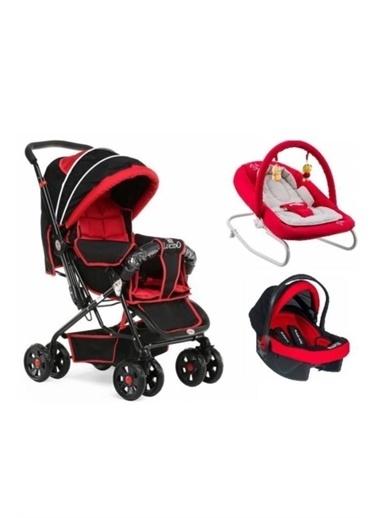 Rival Lucido Çift Yönlü Bebek Arabası + Taşıma Puset + Ev Tipi Anakucağı Kırmızı